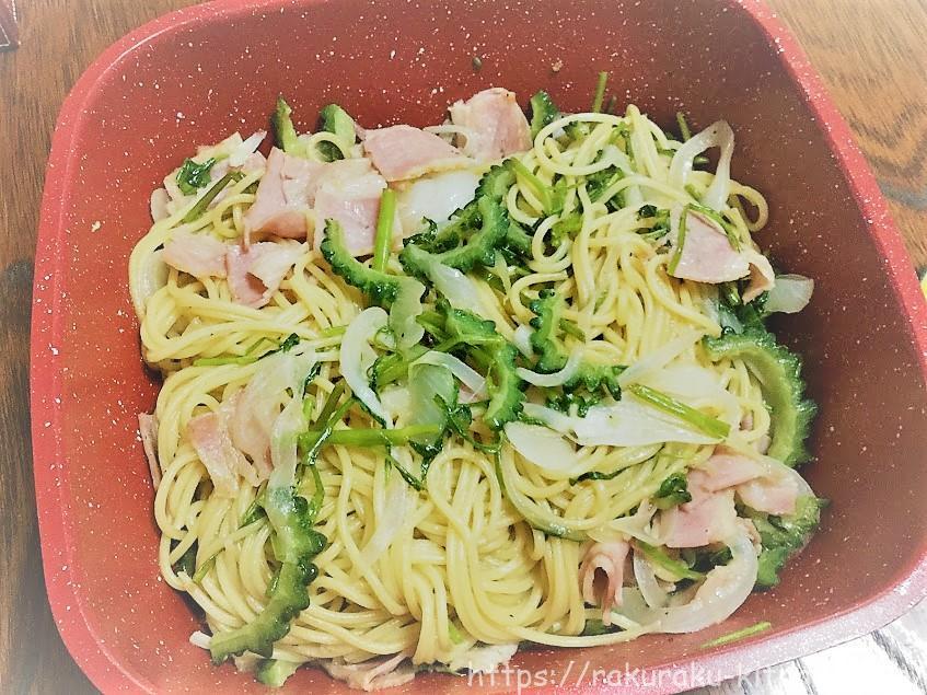 ゴーヤと空心菜のパスタ
